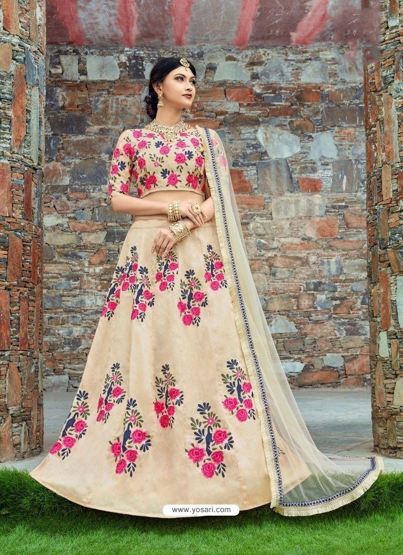 4585027bc0 Light Beige Silk Embroidered Designer Lehenga Choli | Designer ...