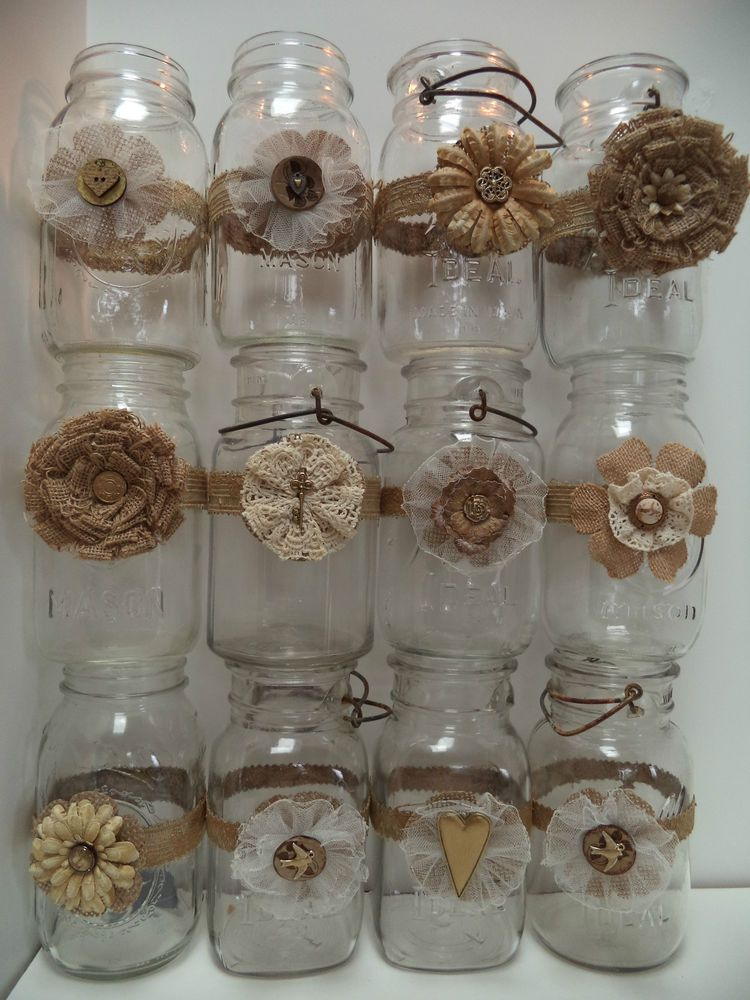 decorated mason jars for weddings 12 jar wedding 50th anniversary gold decorations 3341