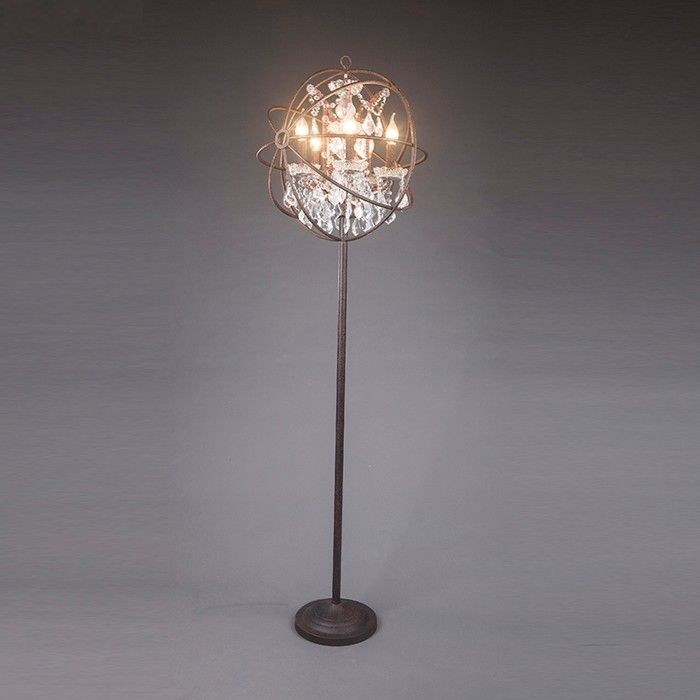 Photo of industrial vintage style K9 crystal E14 holder crystal chandelier floor lamp