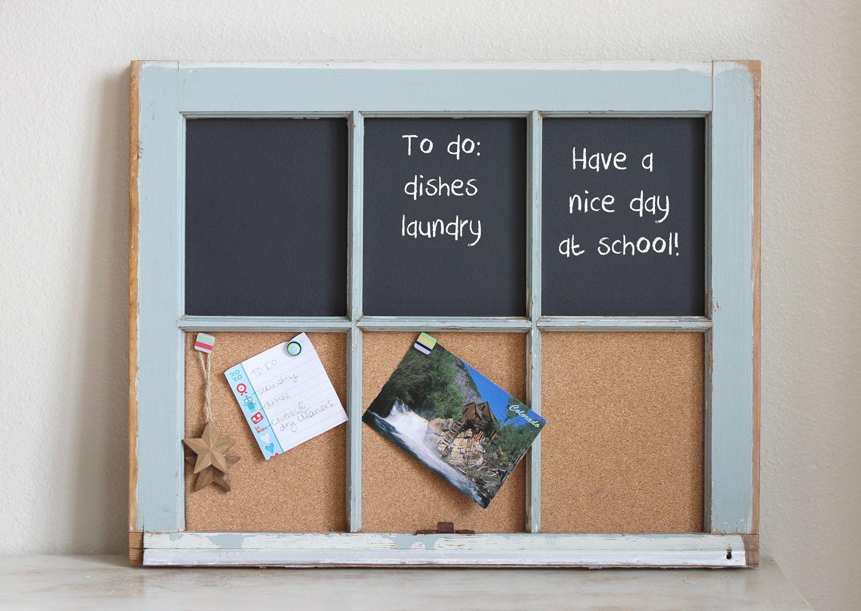 Vintage repurposed window chalkboard and cork board cork boards vintage repurposed window chalkboard and cork board jeuxipadfo Gallery
