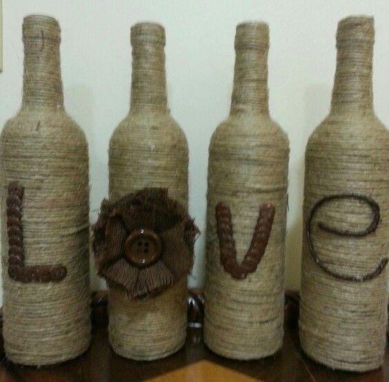 Button wine bottles.
