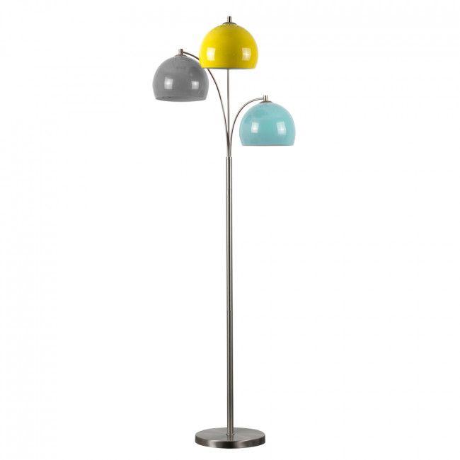 Dantzig Brushed Chrome 3 Arm Floor Lamp With Multi Coloured Shades