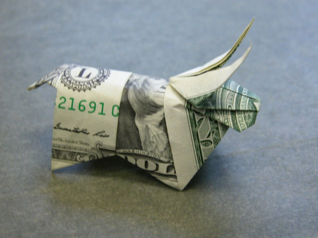 Money Dollar Origami BULL Statue Taurus Art Sculpture Miniature Ox Real $1 Bill