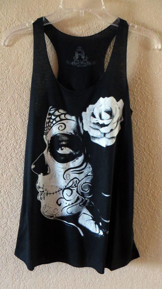COWGIRL gYPSY SUGAR SKULL DAY OF THE DEAD Black Tank Top Shirt Western SMALL #BEARDANCE #TANK