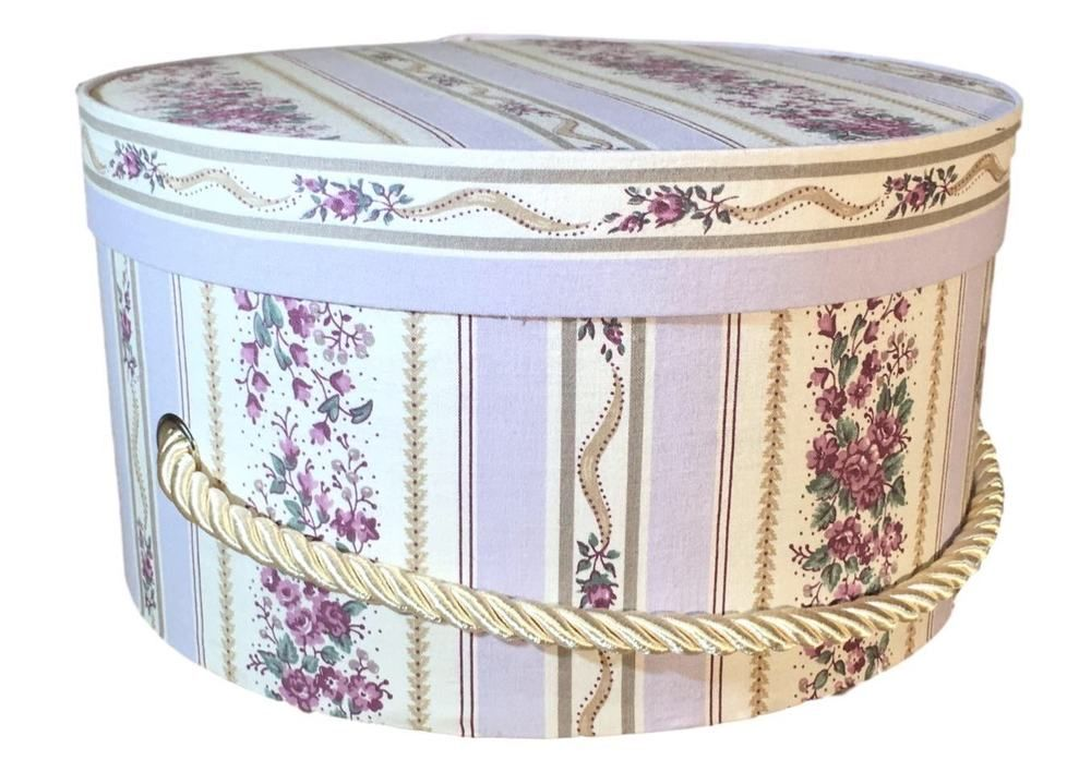 Hat Box In Floral Stripe, Hat Boxes, Round Box, Storage Box, Fabric  Covered, 10u201d