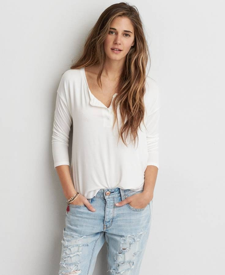 5c74779d4 AEO Soft & Sexy Henley T-Shirt, Women's, White   *Clothing*   Mens ...