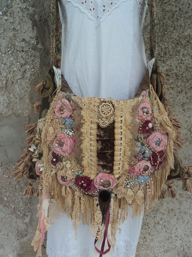 Details About Large Handmade Boho Carpet Bag Shabby Chic