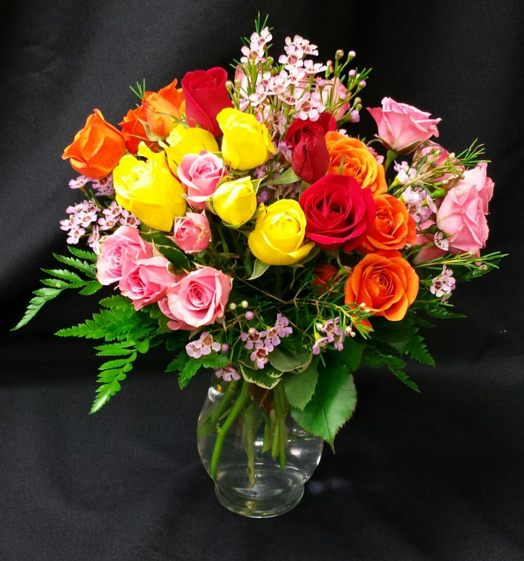 Surprise and friend today with Mini spray roses and wax flower!!