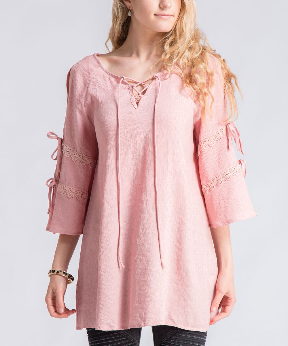 Blush Tie-Accent Bell-Sleeve Tunic