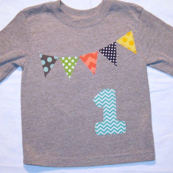 Jungen 1 Geburtstag Shirt Wimpel Shirt Nummer 1 Shirt Junge