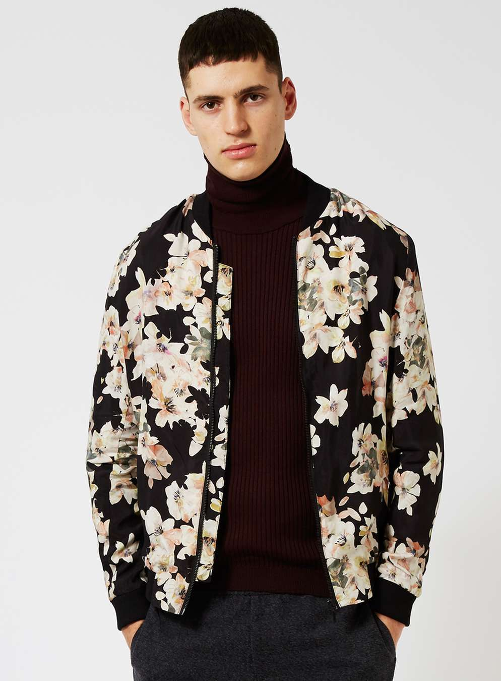 c1be0484902 Black Watercolour Floral Print Smart Bomber Jacket - View All Clearance -  Clearance - TOPMAN