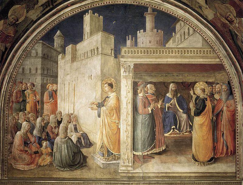 Fra Angelico,  - Cappella Niccolina - Predica di santo Stefano e disputa nel sinedrio