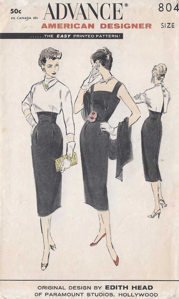 Vintage 1950's Misses Advance American Designer Pattern 8048; Original 1957 Design by Edith Head of Paramount Studios, Hollywood