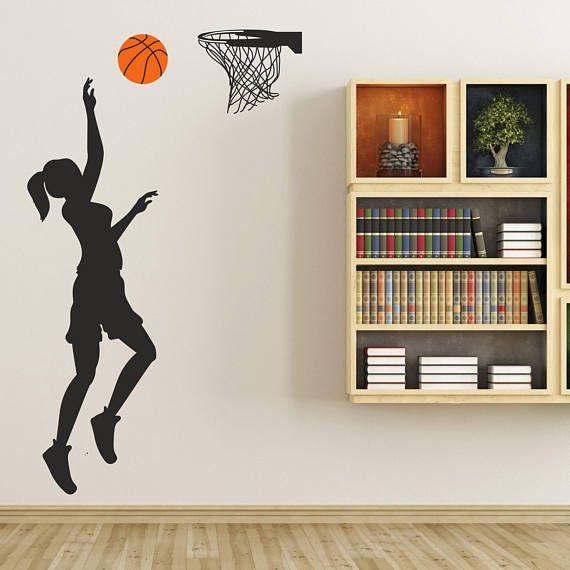 Basketball Girl Silhouette Removable ChalkTalkGraphix Wall Decal - küchen teleskopstange mit korb