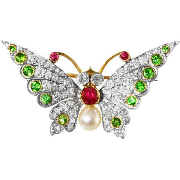 Edwardian Demantoid Pearl Garnet Ruby Diamond Gold Butterfly