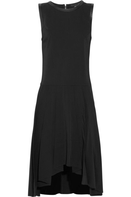 Alexander Wang Leather-trimmed twill dress