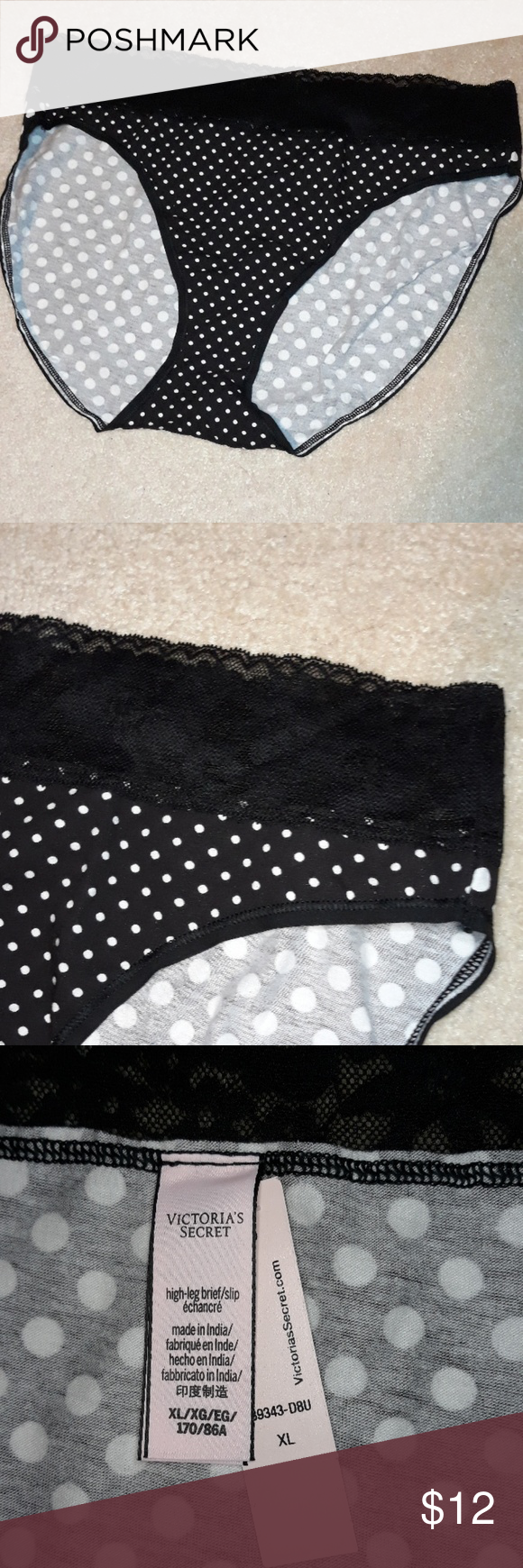 49c4ab24aea3 Brand new Victoria's Secret underwear extra large Brand new with tags Victoria  Secret black and white polka dot black lace waste Cotton. Sexy. Cool.