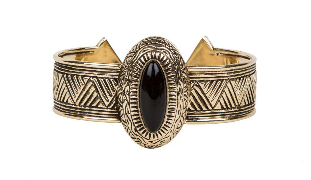 Hathor Cuff  brass, black onyx