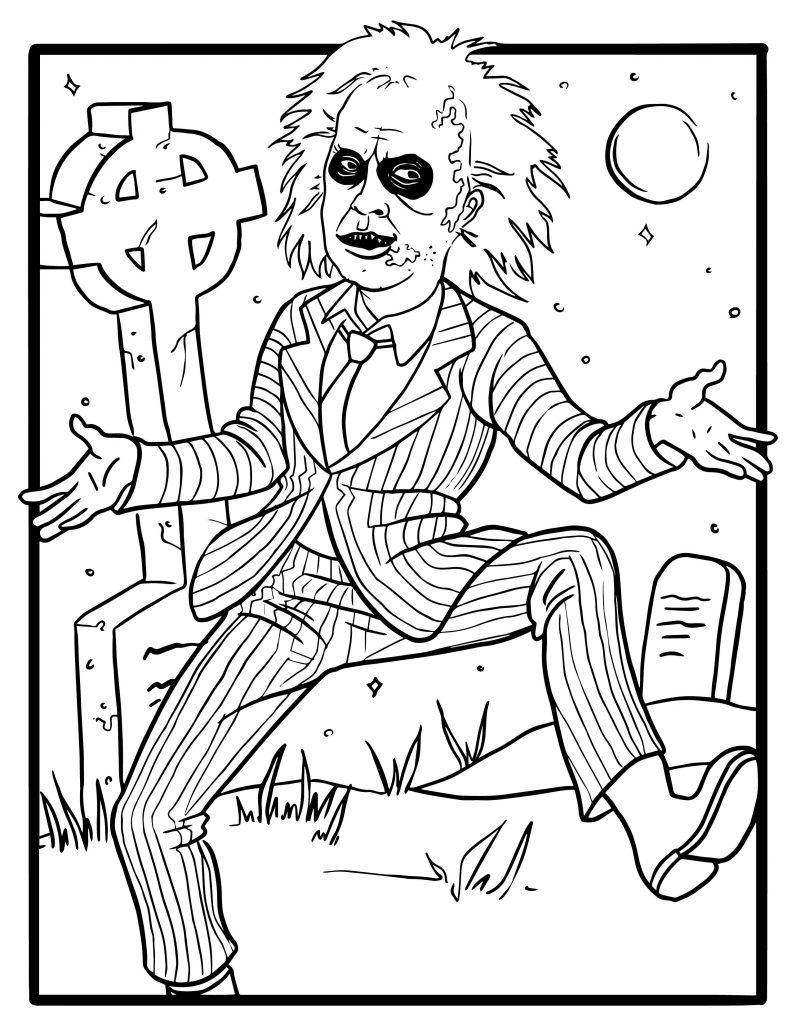 Free Tim Burton Coloring Pages Party Ideas Activities By Wholesale Party Supplies Monster Coloring Pages Halloween Coloring Book Skull Coloring Pages
