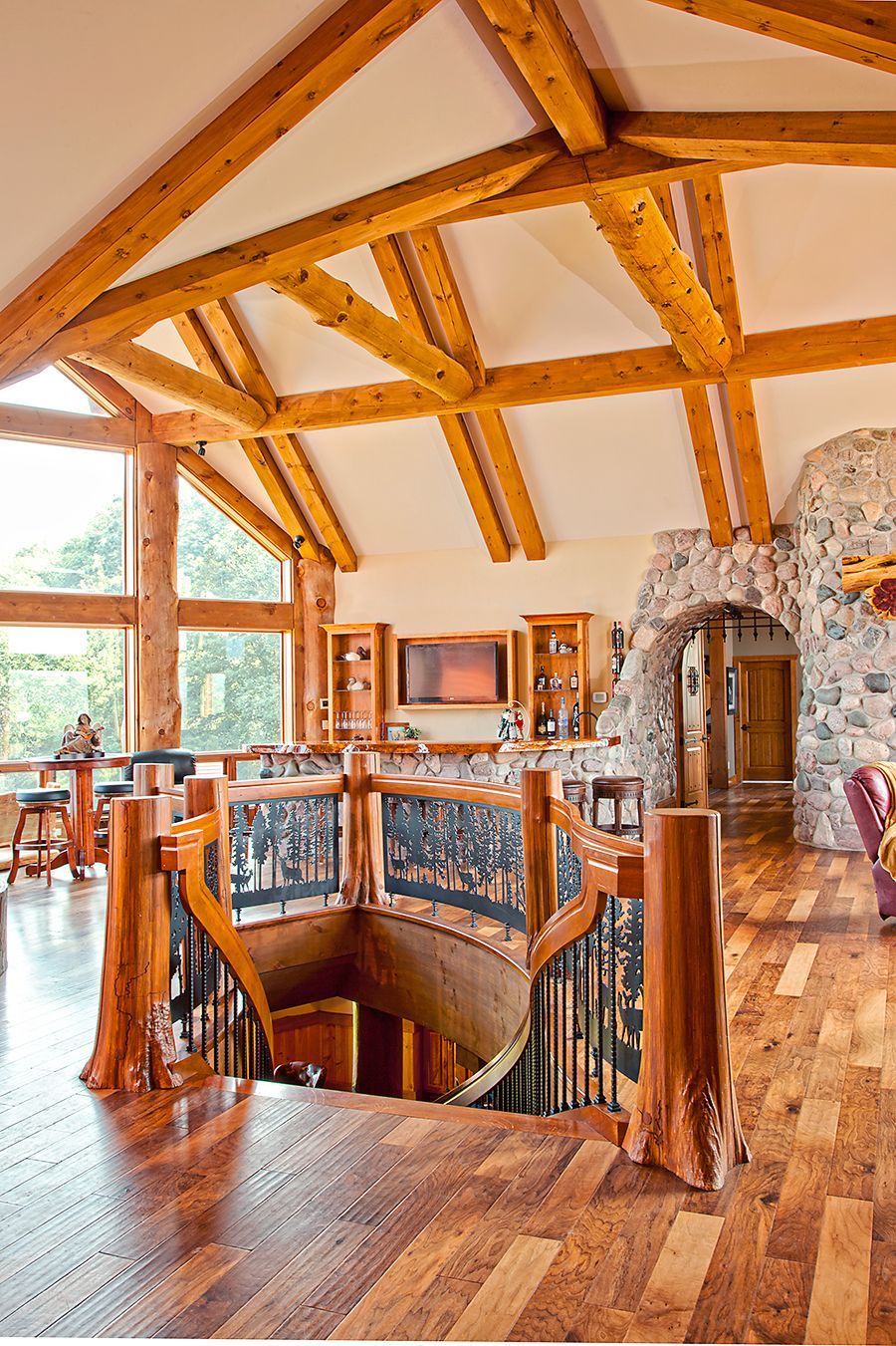 Staircase Wisconsin Log Homes