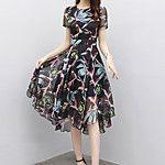 4d12ebb481cb0 Kadın Günlük/Sade Büyük Beden Sade A Şekilli Elbise Desen Nakışlı,Kısa  Kollu V