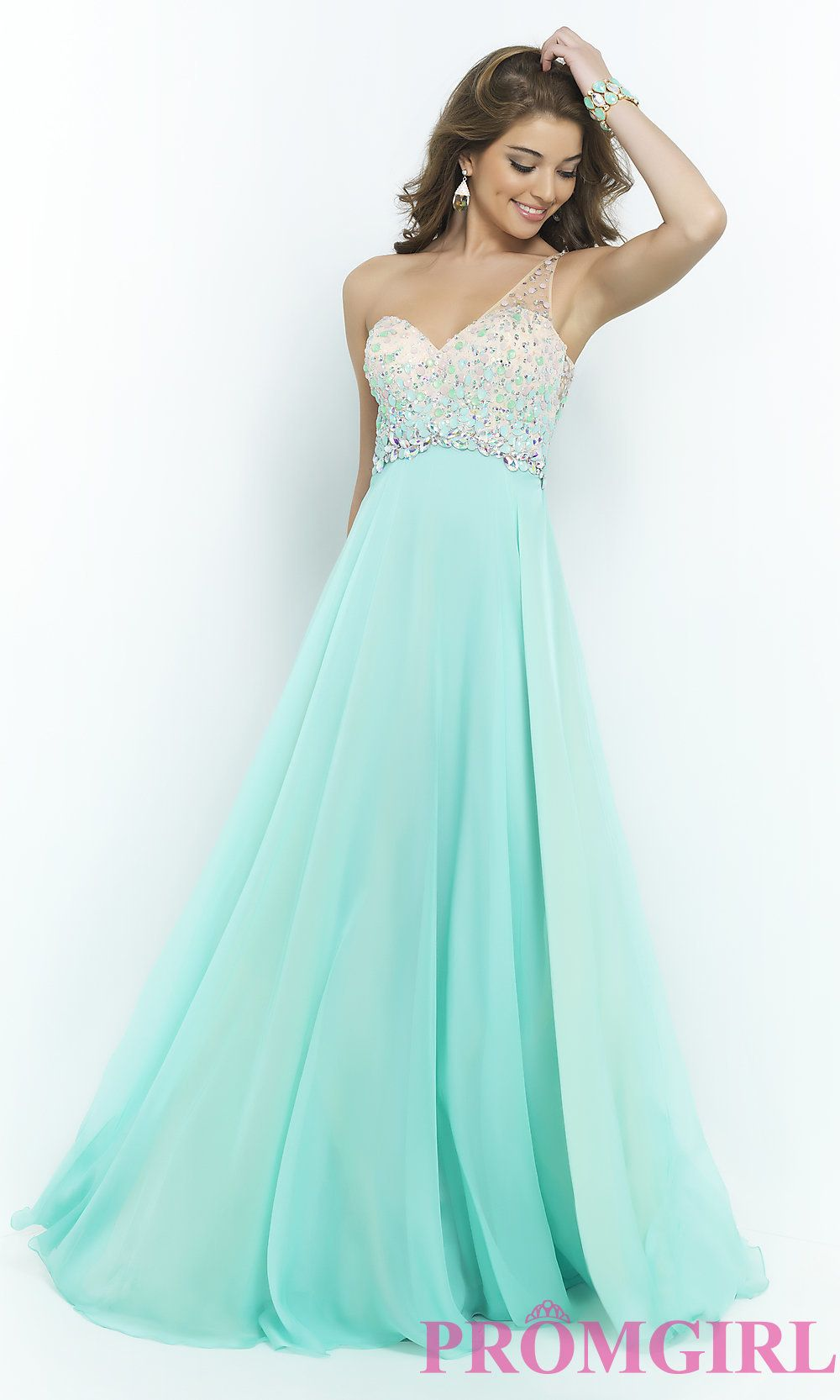 Image of One Shoulder Prom Dress by Blush 9965 Detail Image 3 ...