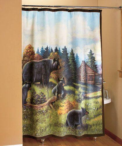 Black Bear Shower Curtain Evergreen Northwoods Woodland Cabin Bath