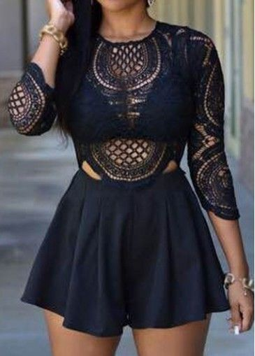 Lace Panel Three Quarter Sleeve Romper on sale only US$22.83 now ...