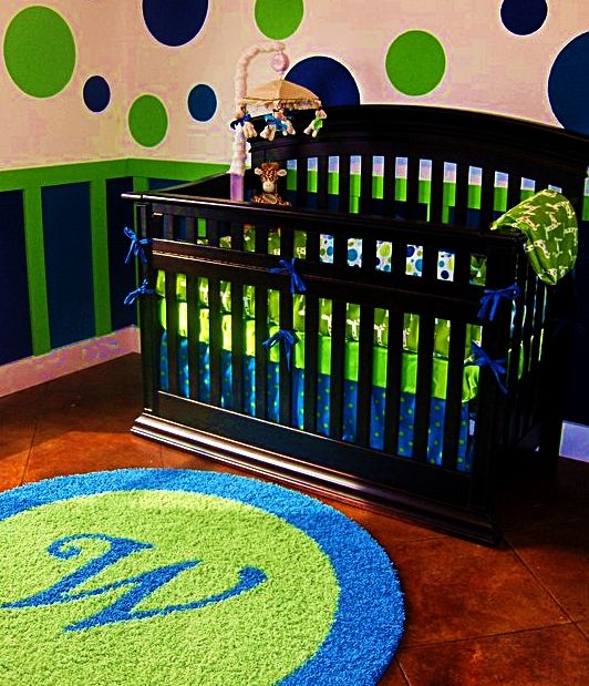 Bright Blue & Lime Green Boys Nursery With Custom Initial
