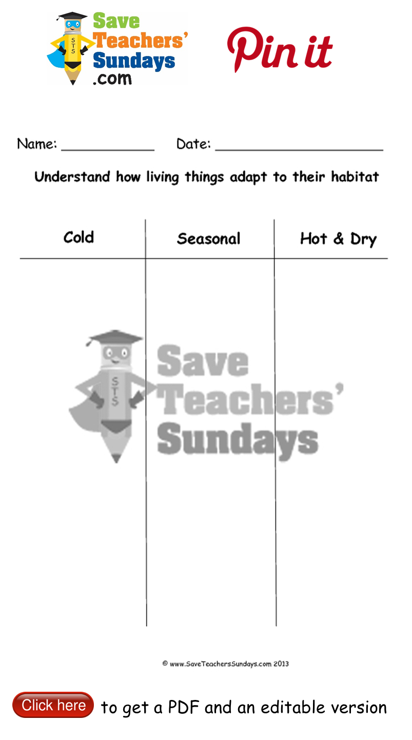Worksheets Adaptations Worksheet adaptations to hot seasonal and cold climates worksheet go http httpwww saveteacherssundays comscienceyear 2402lesson 1