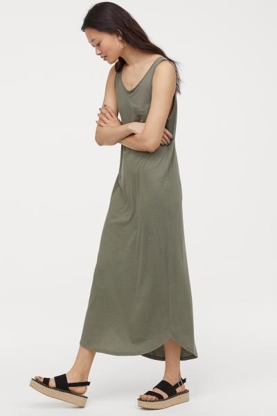 a18a0cc62c Jersey Maxi Dress - Dark khaki green - Ladies