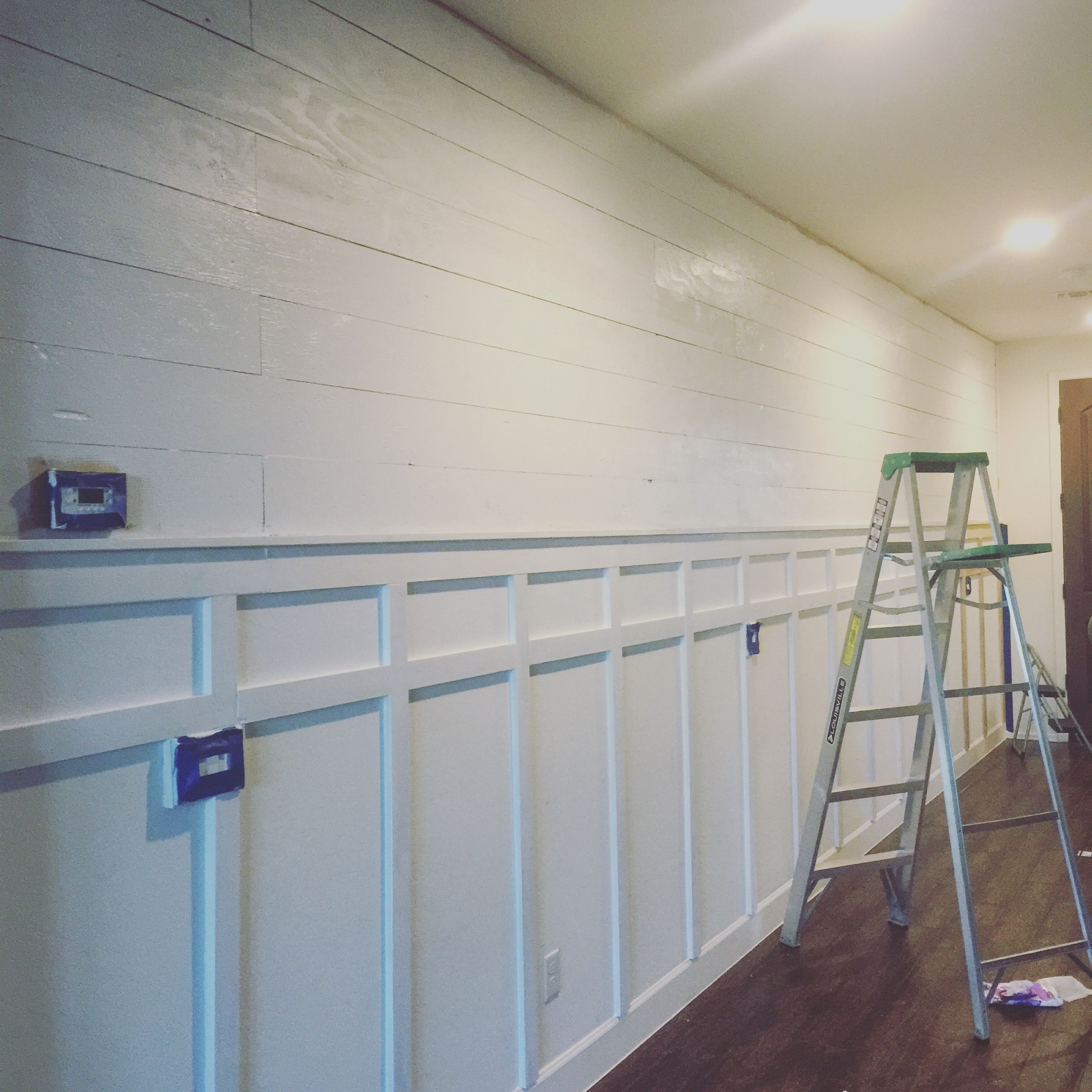 Filed under board and batten wainscoting diy diy projects - Shiplap Wall Diy With Board And Batten Painted In Behr Maui Mist