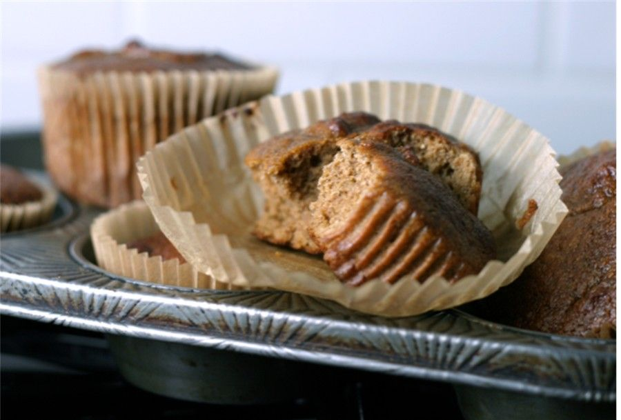 Pumpkin muffins made with coconut flour: I used 1 individual unsweetened applesauce container and then the rest of the sweetener was maple syrup. And in a loaf version in my oven, it took more like 50-60 minutes. But I started checking at 30. ~ gsw