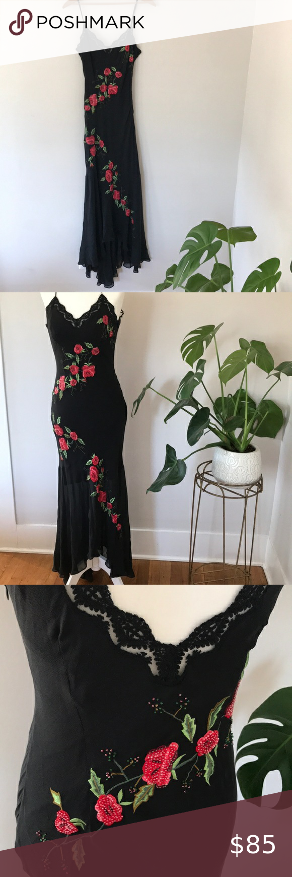 Vintage Cache Silk Floral Dress Silk Floral Dress Floral Dress Black Silk Dress [ 1740 x 580 Pixel ]