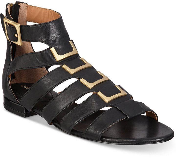 4707c4528ba8 Calvin Klein Women s Estes Gladiator Flat Sandals Women s Shoes ...