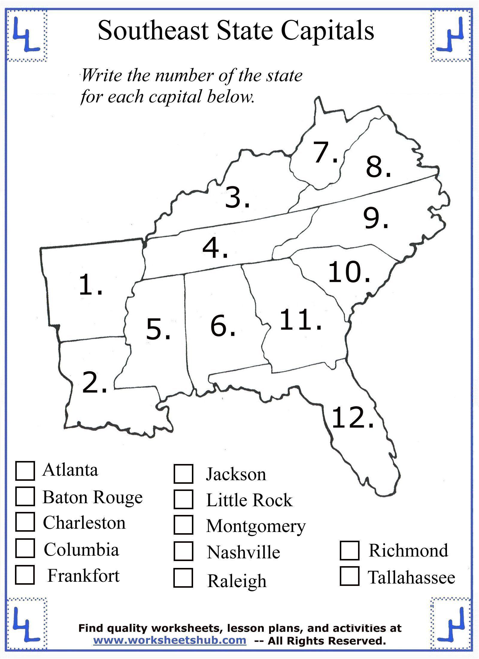 1st Grade Social Studies Worksheets 4th Grade Social Stu S Southeast Region States In 2020 Social Studies Worksheets 4th Grade Social Studies History Worksheets