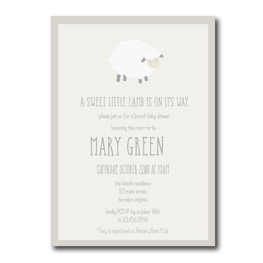 A Little Lamb Baby Shower Invitation | Lamb baby showers, Shower ...