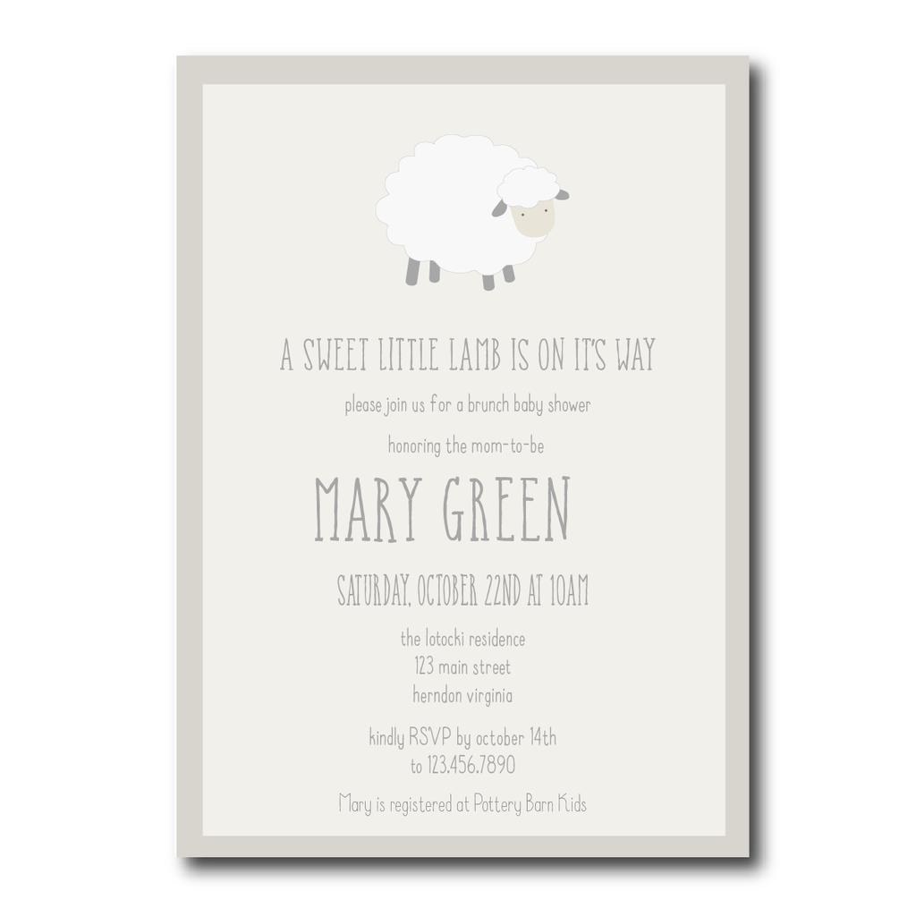 A Little Lamb Baby Shower Invitation | Kristen\'s Baby Shower ...