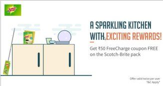 Freecharge- Buy Scotch Brite Sponge Wipe Pack and get Rs 50 Freecharge Coupon Absolutely free