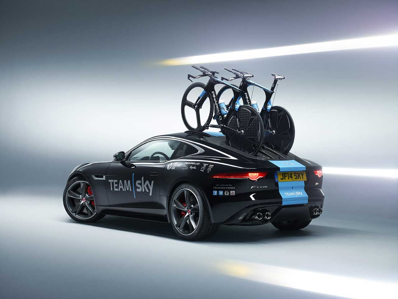 Jaguar Land Rover Special Vehicle Operations unveils Team Sky's F-Type Coupe support vehicle  http://www.4wheelsnews.com/jaguar-land-rover-special-vehicle-operations-unveils-team-skys-f-type-coupe/
