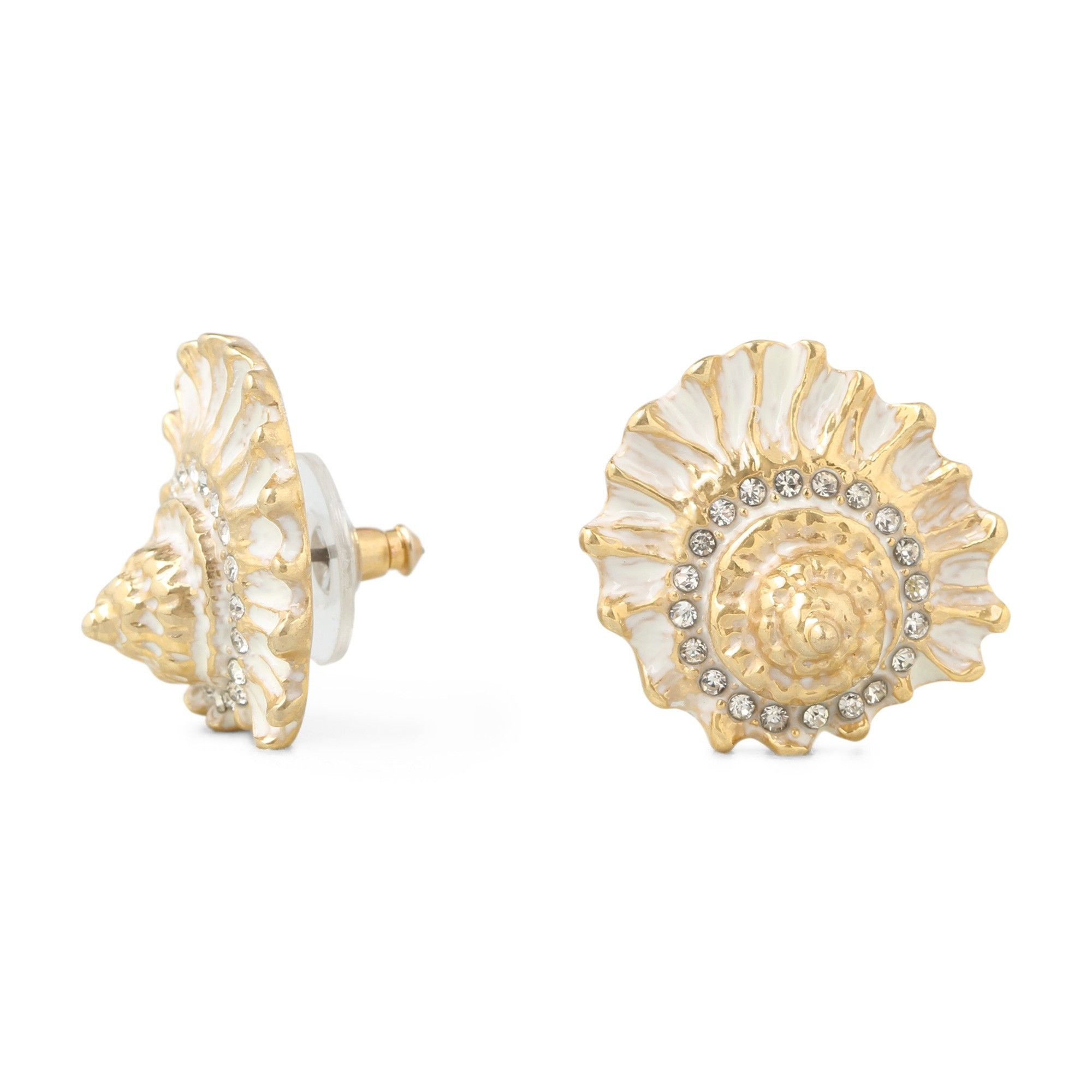 beautiful for yellow gold stud women sea cute pin earrings seashell