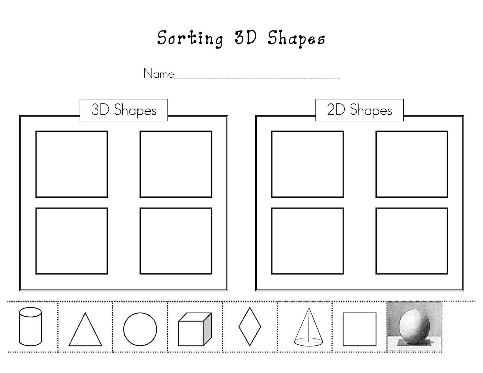 3d Shape Worksheet For Kindergarten Teaching 3d Shapes