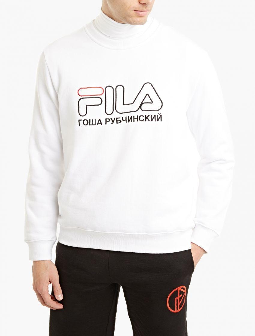 111ff8c8556d The Gosha Rubchinskiy x Fila Logo Sweatshirt for SS17, seen here in white.  As part of his SS17 collaboration with Italian sportswear brand Fila, ...