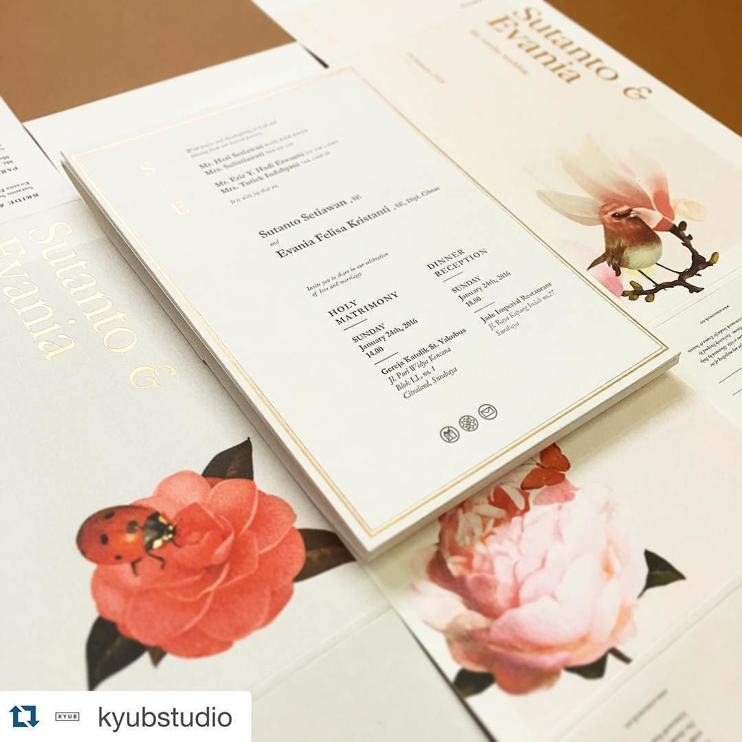 #Repost @kyubstudio with @repostapp.  Sutanto & Evania Wedding Invitation. Letterpress  Digital Print  Matt gold foil. Awesomely designed by : @sciencewerk Beautifully illustrated by : @robydwi Printed by : @kyubstudio by robydwi
