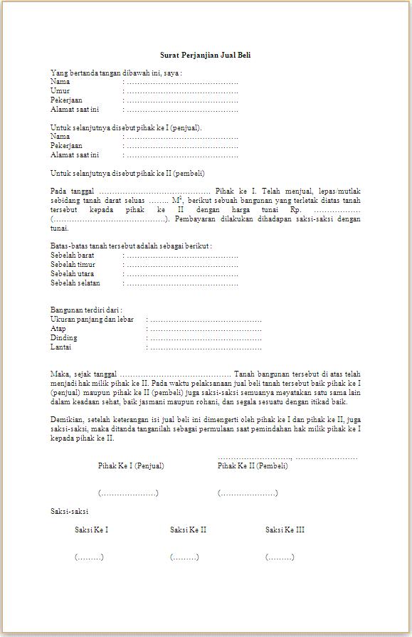 Surat Perjanjian Jual Beli Tanah Kampung Anma Aisy