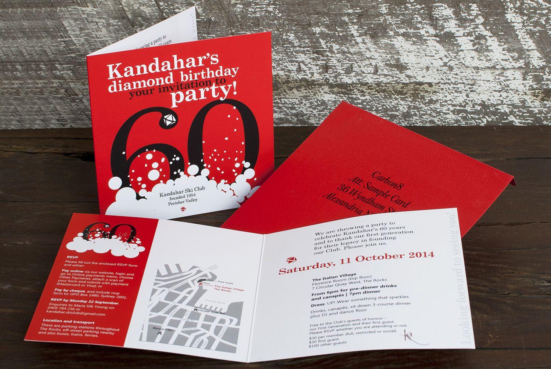 Kandahar\'s 60th Invitation Invitations digitally printed onto Silk ...