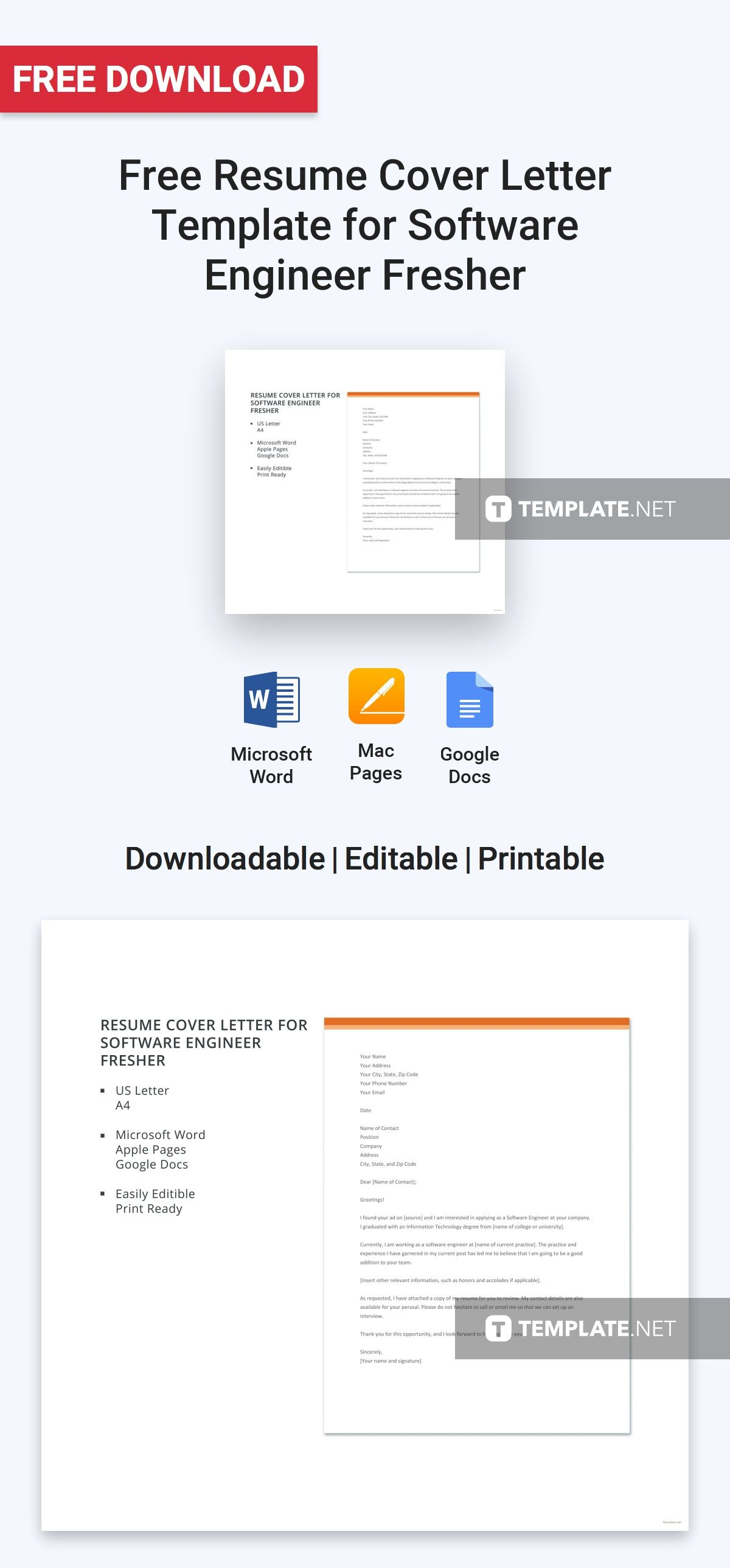 Free Resume Cover Letter Template for Software Engineer