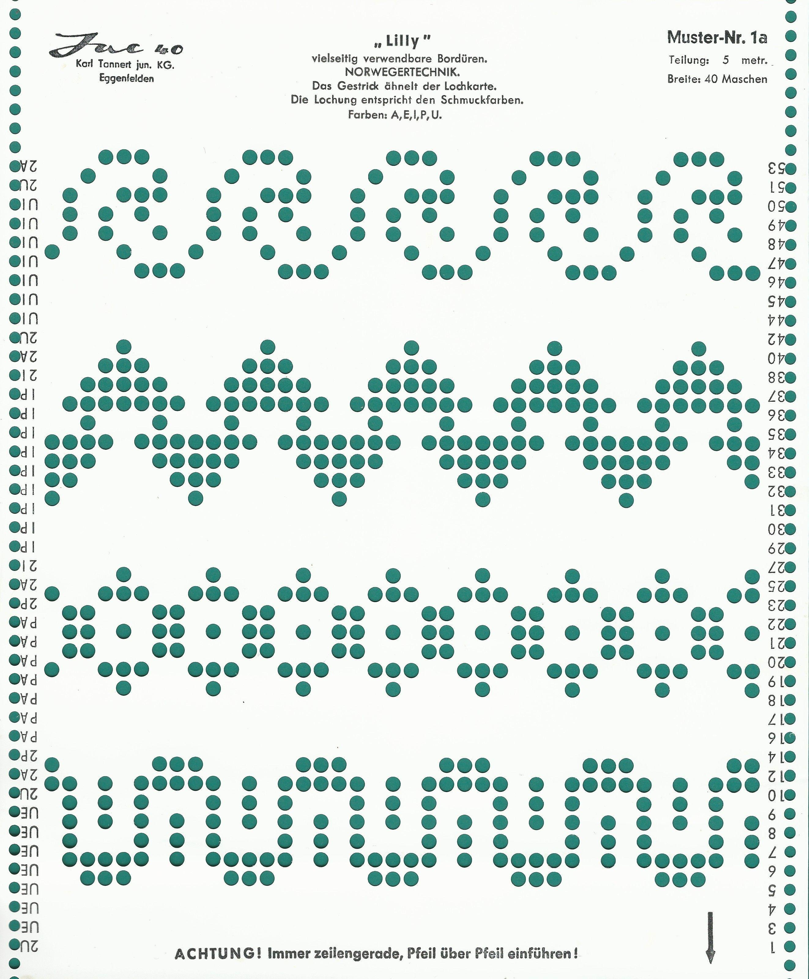 Pin von Vintage Knitting auf Jac 40 Punch Cards | Pinterest
