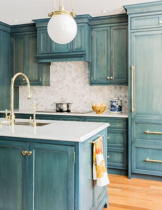 Get Inspired By This Gorgeous Brass And Blue Kitchen INSPIRE - Blue kitchen light fixtures