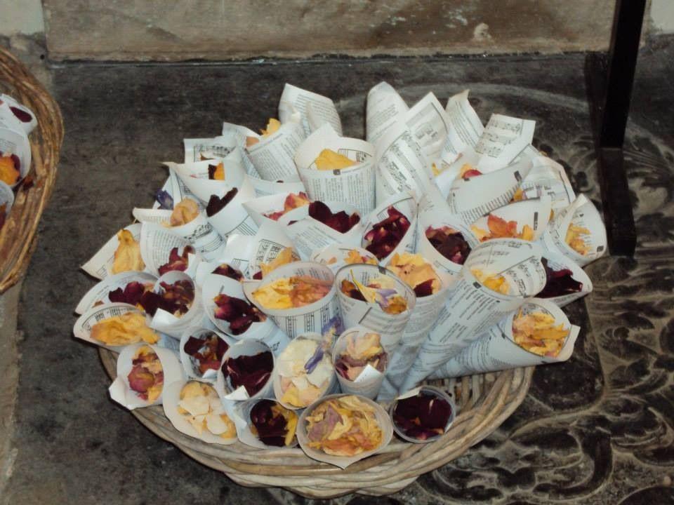 Homemade confetti cones and natural confetti petals